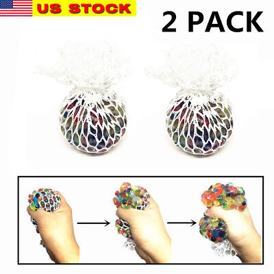 "2x 2.5"" Squishy Mesh sensory stress reliever ball autism squeeze anxiety fidget"