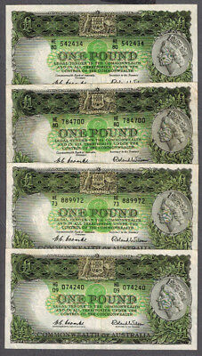 4x Australia 1953-61 QEII Coombs/Wilson One Pound Banknotes R33 & R34