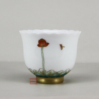 Gold painting Hand painted Chinese Jingdezhen Famille-rose porcelain teacup 80cc