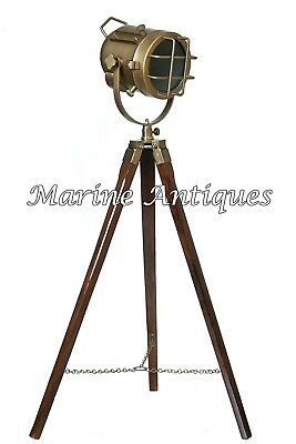 Vintage Antique Brass Spot Light Nautical Maritime Searchlight with Tripod Stand