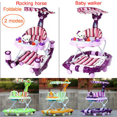 Baby Walker Canopy Folded Multiuse Luxury Toddler Seat Musical Toy Rocking Horse