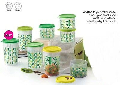New Tupperware Leaf it up set canister green (8)