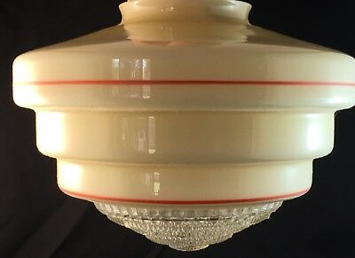 Vintage Art Deco Stepped Glass Red Line Ceiling Light Shade & Diffuser