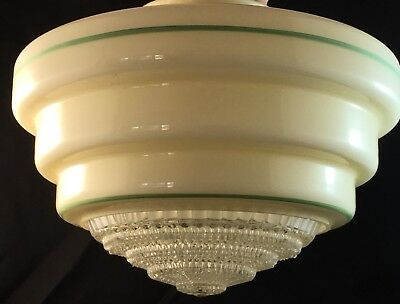 Vintage Art Deco Stepped Glass Green Line Ceiling Light Shade & Diffuser