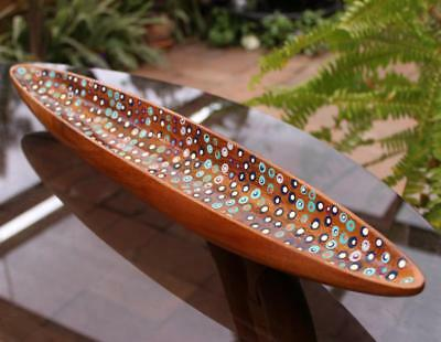 Art Wooden Bowl  Dot Painting In Wooden Dish .. NICE : )