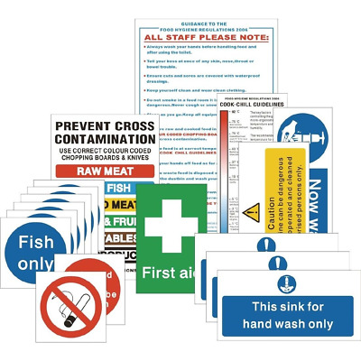 Vogue Senior Hygiene Safety Catering Sign Pack Notices Commercial Kitchen