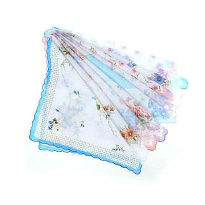 10pcs Grace Vintage Floral Flowers Handkerchief Lady Women Kids Cotton Hanky HC