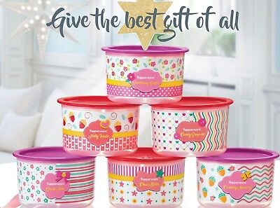 New Tupperware blushing pink one touch canister set (6)