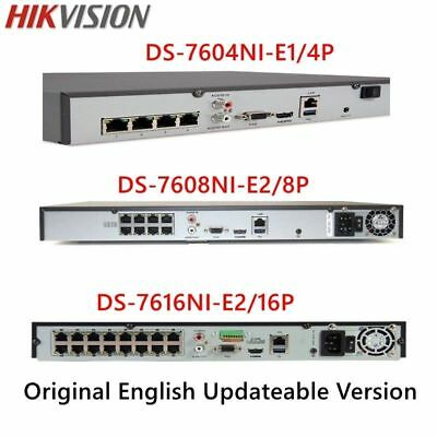 HIKVISION 4CH 4POE DS-7604NI-E1/4P NVR 4MP POE IR CCTV Security Camera System