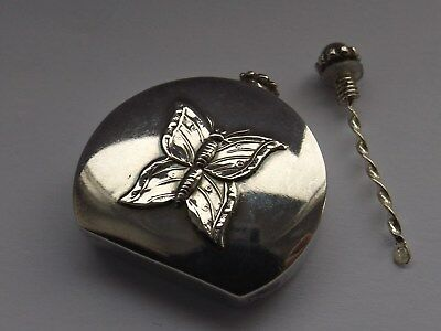 Solid Silver Perfume Bottle With Dabber Butterfly Decoration Ari Norman