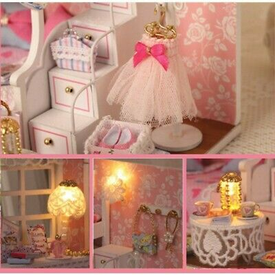Cuteroom DIY Wood Dollhouse Kit Miniature With Furniture Doll House Room Angel D