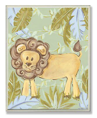 The Kids Room by Stupell Lion in the Jungle Rectangle Wall Plaque