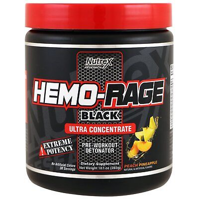 NUTREX Hemo Rage BLACK 30 servings Ultra Concentrated Peach Pineapple FREE POST