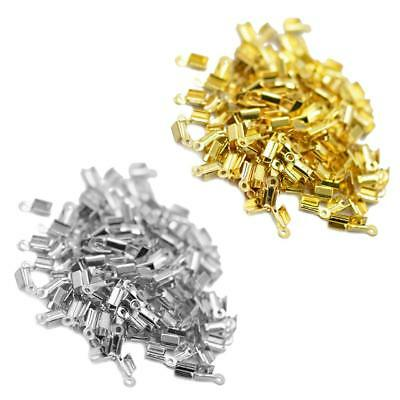 200Pcs Cord Ribbon Clamp End Crimps Findings 10 x 4.5mm for Jewelry Making