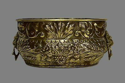 French Large Brass & Bronze Jardiniere with Lion Head Handle Centerpiece 19th.c