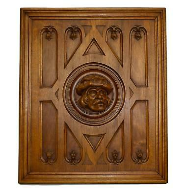 French Antique Neo Gothic Hand Carved Wood Wall Panel Paneling 19th.C Man Face