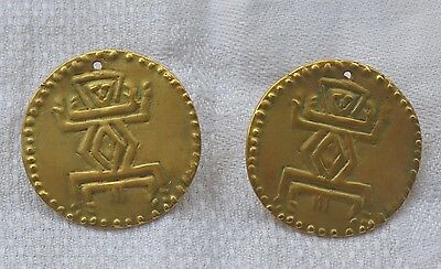 18K gold electroplated earrings pierced round Aztec design vintage tribal ethnic