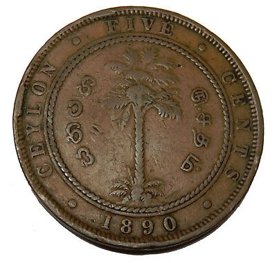 Ceylon Sri Lanka 5 Five Cents 1890 Queen Victoria Km# 93
