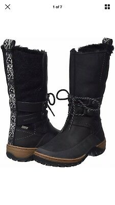d1531afa49886 Merrell Sylva Tall Boot Women's Size 9.5 Black Leather With Faux Fur Lining  New