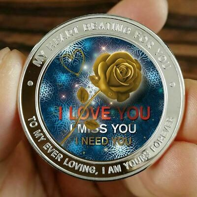 I love You / 1 oz .999 Fine Silver Colorized Round Bar Bullion  Coin SB1L8