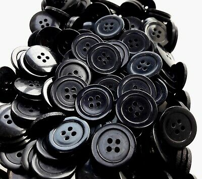 Large 23mm 36L Black 2 Hole Polished Buttons Craft Sewing Jacket Arts #29