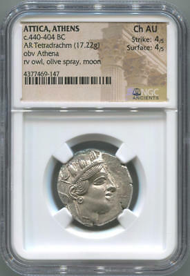 Attica, Athens Greek Owl Ancient. 440-404 BC. NGC Choice AU