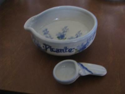 Salado Pottery Picante Hand Painted Grey & BLue Bowl and Spoon