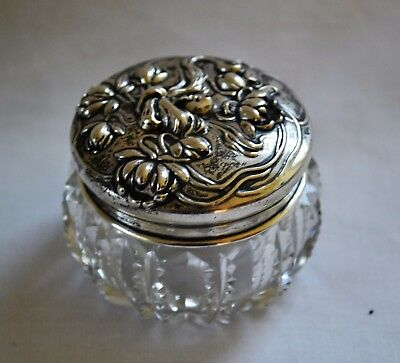 American Art Nouveau Sterling Silver Top Dresser Jar Wm. B. Kerr Cut Glass