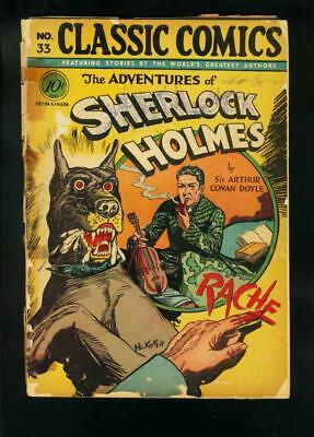 CLASSIC COMICS #33 HRN 33-ADVENTURES OF SHERLOCK HOLMES-HC KIEFER ART-fair FR