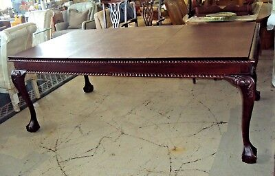 Vintage Large Mahogany Dining Room Table - Ball Claw Feet & Protective Table Pad