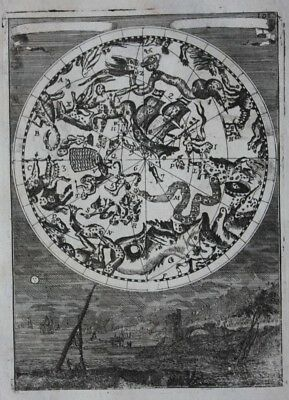 Antique CELESTIAL CHART, SOUTHERN CONSTELLATIONS SEEN FROM EARTH, Mallet, 1683