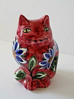 Collectible San Gimigano Italy Hand Painted Plump Fat Flowered Cat Figurine