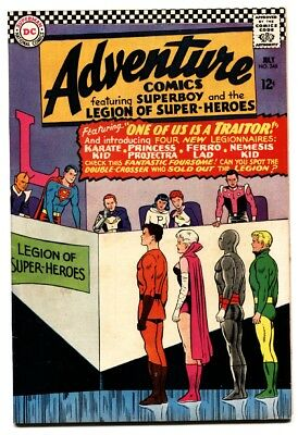 Adventure Comics #346 comic book 1966- Superboy- 1st Karate Kid Ferro Lad  FN