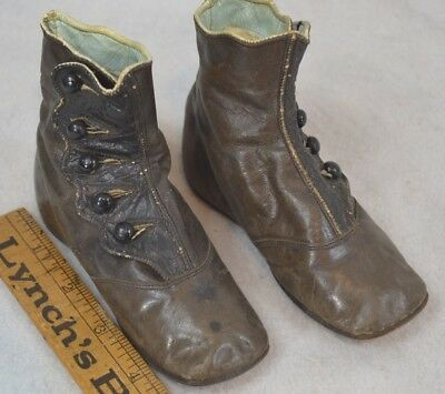 baby doll shoes 1800s leather high button brown black  antique original