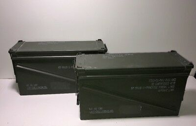"Lot of 2 MILITARY 40MM, BA30, PA120 METAL AMMO CAN STORAGE 6"" W x 10"" H x 19"" L"