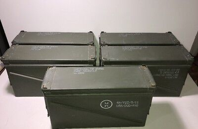 "Lot of 5 MILITARY 40MM, BA30, PA120 METAL AMMO CAN STORAGE 6"" W x 10"" H x 19"" L"