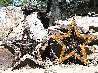 TWO Southwestern Wall Stars Wood with Cast Iron Rustic decor
