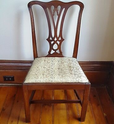 ORIGINAL c.1790 GEORGE III Mahogany Side Chair Many OLD Repairs ENGLAND Antique