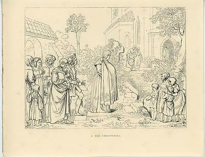 Antique Middle Ages Medieval Costume Woman Christening Church Woodcut Art Print