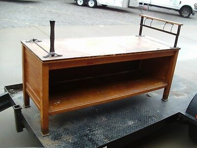 Antique store counter -1890's wrapping counter with paper holders - brass feet