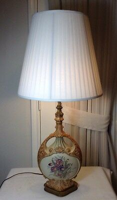 Antique Vintage Hand Painted Ceramic Floral Table Lamp With Brass Base & Shade