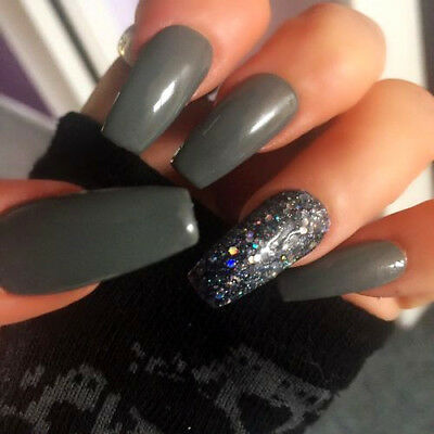 Hand Painted Gel False Nails Grey Diamond Coffin Full Cover Press On Nails