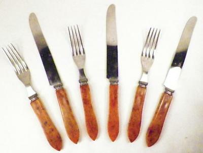 6 Pieces Butterscotch Bakelite Flatware 3 Forks 3 Knives Vintage Flatware Retro