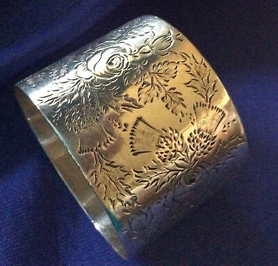 English Sterling Silver Rose And Thistle Napkin Ring Serviette Holder