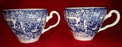 Johnson Bros. - 2 Tea Cups,  Coaching Scenes - Hunting Country - Made In England