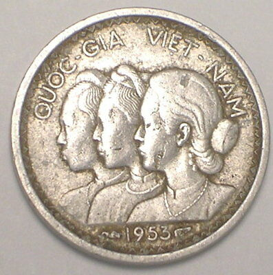 1953 Viet Nam Vietnamese 10 Su Conjoined Busts Bamboo Stalks Coin