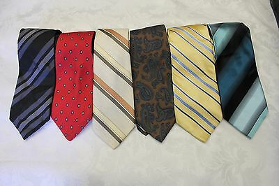 """Lot Of 6 Ties Different Name Standard Width 3-1/2"""" & Classic Length 57""""-60"""""""