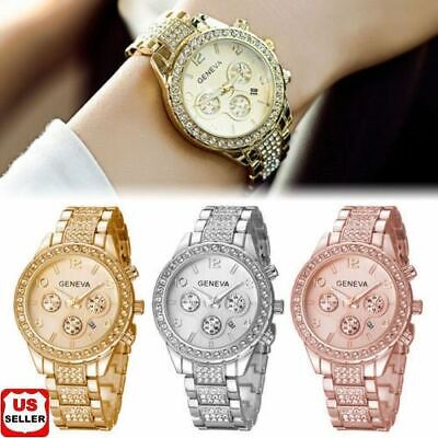 Geneva Luxury Women's Girl's Crystal Stainless Steel Quartz Analog Wrist Watch 1