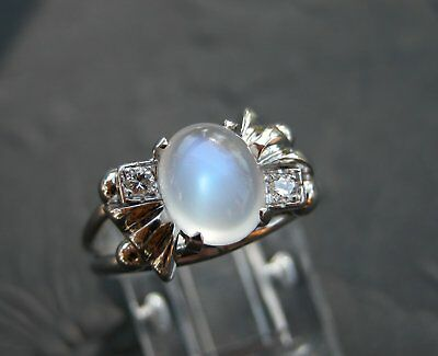 1940S Art Deco 14K Gold Diamond Blue Moonstone Bow Ring Antique
