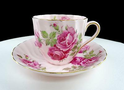 "Royal Tuscan England #185N Pink Roses Swirl Rimmed 2 7/8"" Cup & Saucer Set"